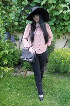 black thrifted jeans - black lindex hat - light pink Forever 21 shirt