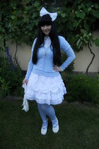 sky blue H&M tights - white Bodyline shoes - sky blue H&M cardigan
