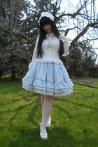 white Anna House shirt - white offbrand tights - sky blue Dear Celine skirt