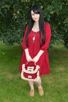 brick red Liz Lisa bag - brick red H&M dress - gold Tally Weijl necklace