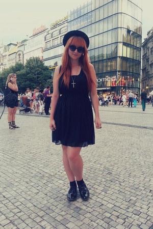 black Tally Weijl shoes - black Tally Weijl dress - black H&M hat