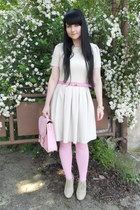 bubble gum lindex tights - off white Orsay dress - bubble gum c&a bag
