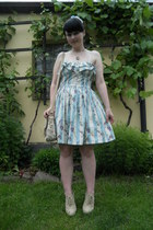 silver c&a ring - sky blue Atmosphere dress - beige I am bag