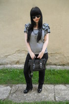 black thrifted jeans - black New Yorker bag - black vintage necklace