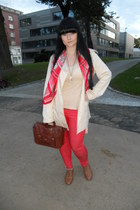 brown Gate shoes - ivory Gate coat - coral c&a jeans - coral H&M scarf