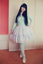 white Bodyline shoes - aquamarine H&M tights - sky blue Dear Celine skirt