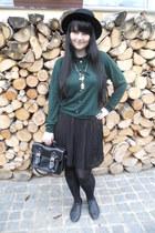 black Gate shoes - black H&M hat - teal Marks & Spencer sweater