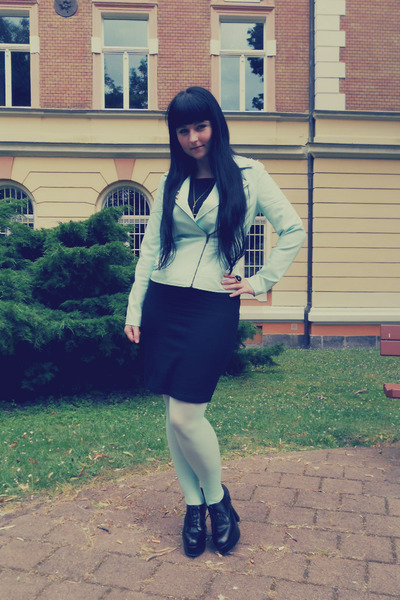 aquamarine Forever 21 jacket - black Orsay dress - aquamarine H&M tights