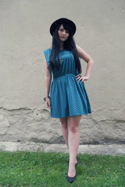 gold H&M bracelet - turquoise blue polka dot Atmosphere dress - black H&M hat