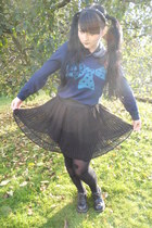 navy Promod sweater - black lindex tights - black New Yorker necklace