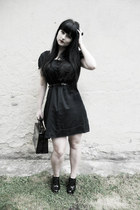 black Atmosphere dress - black vitnage bag - silver scissors offbrand necklace