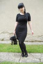 black Orsay dress - black Orsay coat - black offbrand scarf - black vintage bag