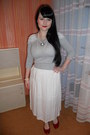 White-vintage-skirt-silver-thrifted-sweater-white-handmade-necklace