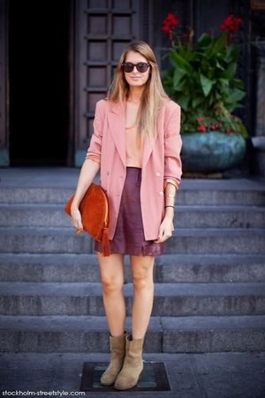 tan suede boots - bubble gum blazer - peach shirt - burnt orange tassle clutch b