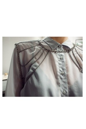 button-up chain blouse