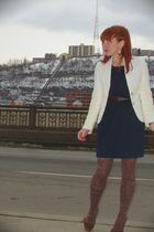 white banana republic blazer - blue Ark & Co dress - brown HUE stockings