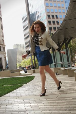 blue Tulle skirt - black H&M shirt - beige BB Dakota jacket