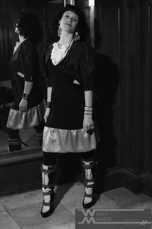 black three toned LAMB boots - dark khaki dress