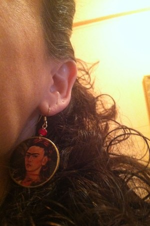 red frida earrings Shionne jewelry made in Detroit baby earrings