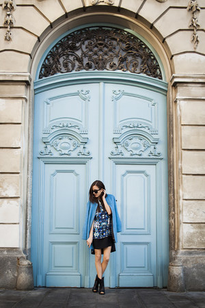 sky blue Finders Keepers dress - Topshop coat