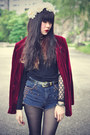 Boots-velvet-blazer-denim-topshop-shorts-floral-crown-accessories