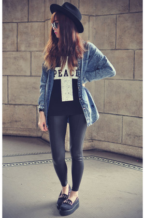 t-shirt - studded loafers shoes - Osap hat - leather Topshop leggings