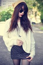 lashesoflondon skirt - leather boots - knitted sweater - round sunglasses