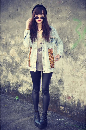 denim jacket - leather boots - leather Topshop leggings - round sunglasses