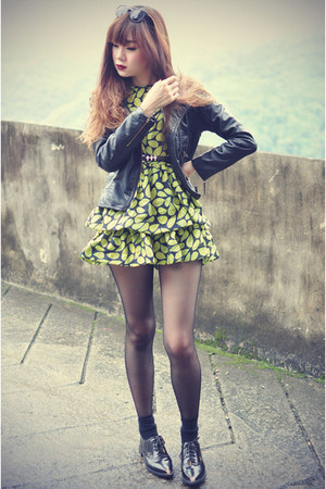 Choies shoes - Choies dress - leather Sheinside jacket - thewildsoul sunglasses