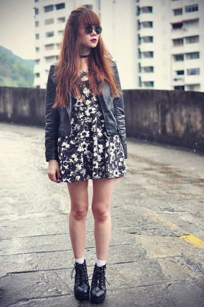 Choies boots - abaday dress - leather Sheinside jacket - Topshop socks