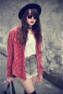 Forever-21-hat-vintage-shirt-denim-shorts-shorts-sunglasses