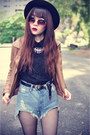 Boots-forever-21-hat-leather-ianywear-jacket-denim-shorts