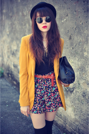 Lulus blazer - Forever 21 hat - floral print shorts - overknee socks