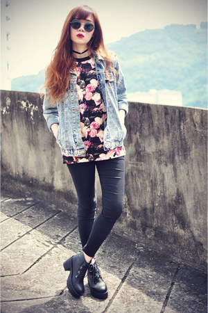 boots - denim PoppyLovers jacket - Choies leggings - sunglasses - Choies t-shirt