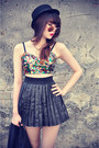 Forever-21-hat-round-sunglasses-leather-skirt