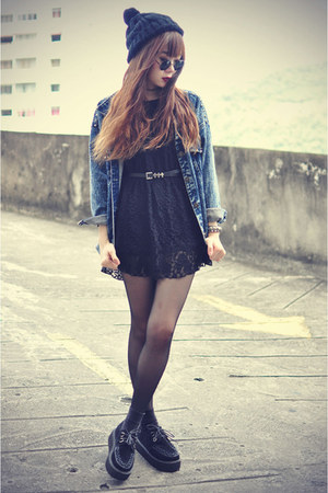 creepers shoes - lace ianywear dress - denim Choies jacket - round sunglasses