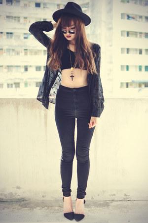 Sheinside blouse - skinny jeans Topshop jeans - OASAP hat - Sheinside necklace