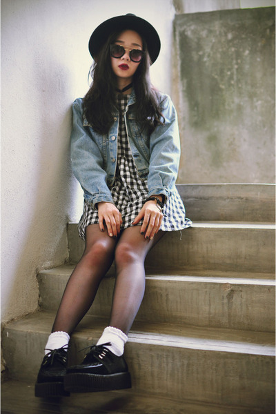 OASAP hat - creepers shoes - vintage Motel Rocks dress - Levis jacket