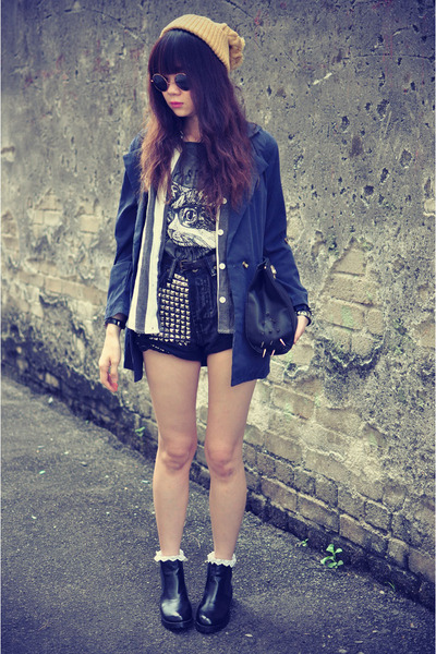 leather boots - navy blue ianywear jacket - denim  studded shorts