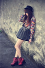 Leather-jeffrey-campbell-boots-forever-21-hat-vintage-shirt-skirt