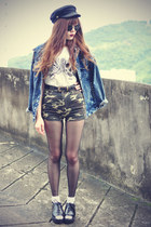 Choies hat - denim Choies jacket - Udobuy shorts - round sunglasses