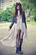 leather boots - PERSUNMALL dress - leather Zara jacket - daisypotion sunglasses