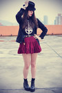 Boots-forever-21-hat-socks-round-sunglasses-ianywear-skirt-t-shirt