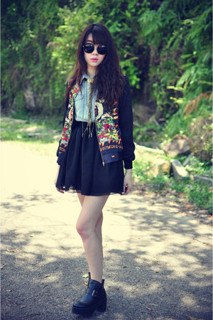 skull jacket - boots - denim shirt - chiffon skirt