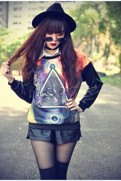 leather shorts - OASAP hat - round sunglasses - leather Choies top