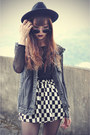 Checked-skirt-choies-skirt-creepers-shoes-oasap-hat-mesh-top-denim-vest