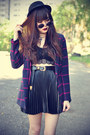 Leather-boots-choies-coat-forever-21-hat-round-sunglasses-bra-top-bra