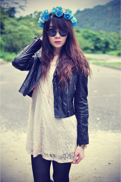 eFoxCity dress - leather jacket Motel Rocks jacket - round sunglasses