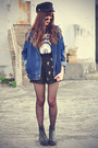 Leather-boots-denim-choies-jacket-cross-shorts-cap-choies-accessories