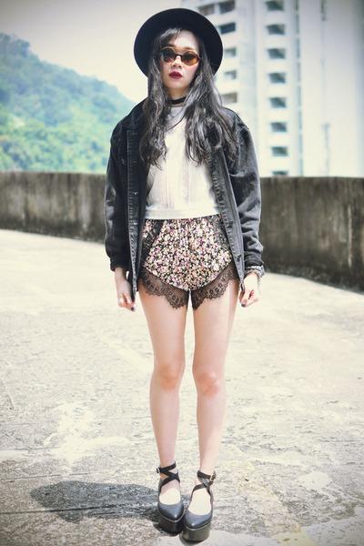 OASAP hat - jacket - Choies shorts - Choies sunglasses - OASAP top - wedges